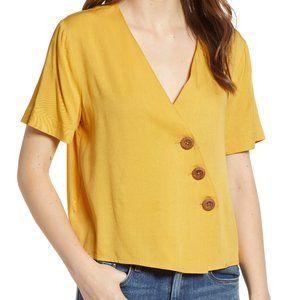 English Factory Asymmetrical Yellow Button Top XS